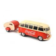 COCA COLA DieCast MODEL 1962 Volkswagen Samba Bus with Trailer 1:43
