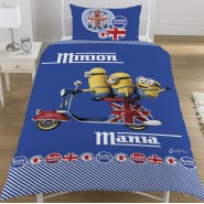 MINIONS MANIA London Scooter DUVET COVER Single Bed Set 137x198 COTTON Original