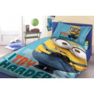 COPRIPIUMINO Set Letto Minion BOB I TRY HARDER Minions 140x200cm 100% COTONE