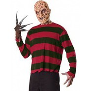 COSTUME Carnevale FREDDY KRUEGER Adulto KIT GUANTO TSHIRT MASK Nightmare RUBIE'S