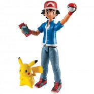 POKEMON Set 2 Figure Action ASH e PIKACHU 11cm Originale TOMY Nuovo