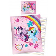 MY LITTLE PONY Set Letto RAINBOW e TWILIGHT 140x200 Reversibile COPRIPIUMINO + Federa