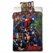 Set Letto Cotone THE AVENGERS Marvel COPRIPIUMINO 140x200cm Iron Man Thor Cap. America ORIGINALE DISNEY