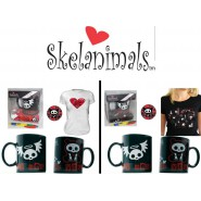 SKELANIMALS VALENTINE Box GIFT SET T-SHIRT e TAZZA e SPILLA Skelanimal NUOVO NEW