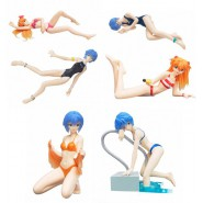 Set 6 Figure EVA GIRLS Beach BIKINI Evangelion Gals PART 6 Originali BANDAI JAPAN