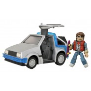 BACK TO THE FUTURE Model TIME MACHINE and Figure MARTY McFLY Delorean MINIMATES Diamond