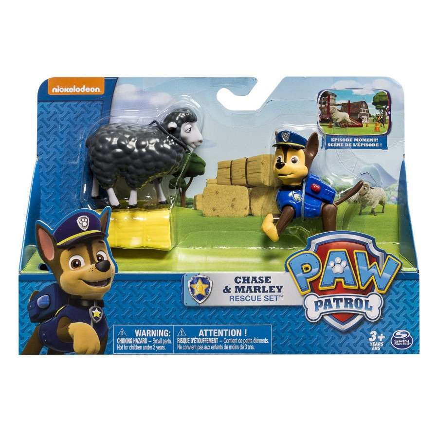 paw patrol figure set chase and marley rescue playset spin master