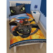 DRAGONS Set Letto HICCUP e SDENTATO Toothless COPRIPIUMINO Singolo FEDERA Reversibile