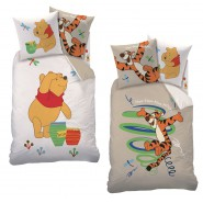 Set Letto WINNIE THE POOH TIGRO Double Face COPRIPIUMINO Singolo FEDERA Reversibile