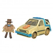 """BACK TO THE FUTURE 3 Model TIME MACHINE RAIL READY and Figure """"OLD WEST"""" MARTY McFLY Delorean MINIMATES Diamond"""
