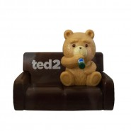 Figure TED 2 on BROWN SOFA 10cm HEAD KNOCKER Bobble SOLAR POWER