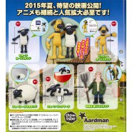 SHAUN THE SHEEP Set 5 Mini Figures SHAUN SHIRLEY BITZER FARMER Tomy JAPAN Gashapon