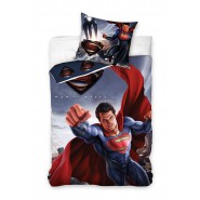 Set Letto SUPERMAN IN VOLO Man Of Steel DC COPRIPIUMINO e FEDERA 100% Cotone 160x200