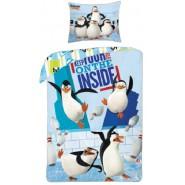 Set Letto PINGUINI DI MADAGASCAR Penguins COPRIPIUMINO e FEDERA 100% Cotone 140x200