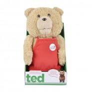 TED ORSO VOLGARE Peluche PARLANTE Grande 40cm GREMBIULE Rosso SUPERMARKET Originale MUOVE BOCCA
