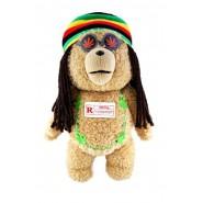 """TED ORSO VOLGARE Peluche PARLANTE Grande 40cm RASTA JAMAICA """"ROSSO"""" NON CENSURATO Originale MUOVE BOCCA"""