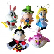 SET 5 Plush ALICE in Wonderland DISNEY 18cm Original SEGA Mad Hatter Cheshire Cat