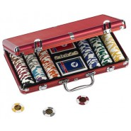 POKER Metal CASE for CHIPS Fiches RED with 300 Chips + 2 Decks + 5 dices DAL NEGR 02454