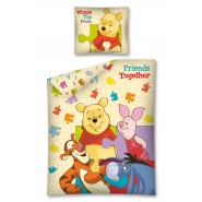 Set Letto WINNIE THE POOH Puzzle FRIENDS TOGETHER Double Face COPRIPIUMINO Singolo FEDERA Reversibile