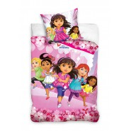 Set Letto DORA AND FRIENDS 5 Personaggi Girls COPRIPIUMINO e FEDERA 100% Cotone 140x200
