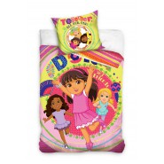 BED SET Duvet Cover DORA AND FRIENDS Together All For one 140x200 100% COTTON