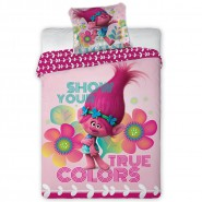 Set Letto  TROLLS True Colors POPPY Show Your TRUE COLORS Set COPRIPIUMINO e FEDERA Cotone 140x200