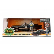 BATMAN Serie TV Classic BATMOBILE Model with 2 METAL Figures Batman Robin Scale 1/24 JADA TOYS