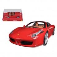 Modello Auto FERRARI 458 SPIDER Rossa Scala 1/24 DieCast HOT WHEELS Mattel BLY64