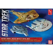 STAR TREK Set 3 MODELS Kit 1/2500 DEEP SPACE NINE Enterprise SARATOGA + DEFIANT + CARDASSIAN CRUISER