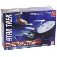 STAR TREK Set 3 MODELS Kit 1/2500 THE ORIGINAL SERIE Enterprise NCC-1701 + KLINGON + ROMULAN