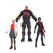 BATMAN Arkham Origins 3-Pack BOX 3 Figure Action 18cm DR. HARLEEN + ELCTROCUTIONER + LADY SHIVA Originale DC COLLECTIBLES