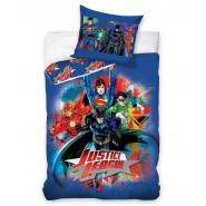 Set Letto Cotone JUSTICE LEAGUE Eroi Dc Comics COPRIPIUMINO 140x200cm Superman Batman Flash ORIGINALE