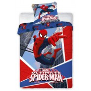 Cotton BED Set DUVET COVER 160x200cm SPIDER MAN Flying Between Buildings ORIGINAL Marvel