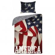 Set Letto AMERICA Bandiera USA Stati Uniti COPRIPIUMINO Federa COTONE 140x200cm Originale