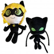 Couple 2 Plushies 24cm ADRIEN Char Noir and Kwami PLAGG From Cartoon MIRACULOUS LADYBUG Original