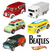 THE BEATLES Set 5 Modellini POP CULTURE VEICOLI in Scala 1:64 MATTEL Hot Wheels DIE CAST