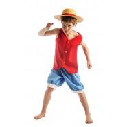 ONE PIECE Costume RUBBER LUFFY Bambino 5-7 ANNI Carnevale Cosplay Cappello Paglia
