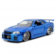 FAST & FURIOUS 8 Model BRIAN'S NISSAN SKYLINE GT-R R34 Color LIGHT BLUE 1:24 Original JADA