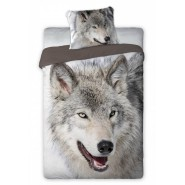 Single BED SET Cotton Duvet Cover WOLF Animal and Nature 140x200cm