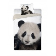 Single BED SET Cotton Duvet Cover PANDA WILD Animal and Nature 140x200cm
