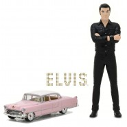 BOXED SET Figure 12cm ELVIS PRESLEY and model 1/64 CADILLAC FLEETWOOD 1955 DieCast Greenlight
