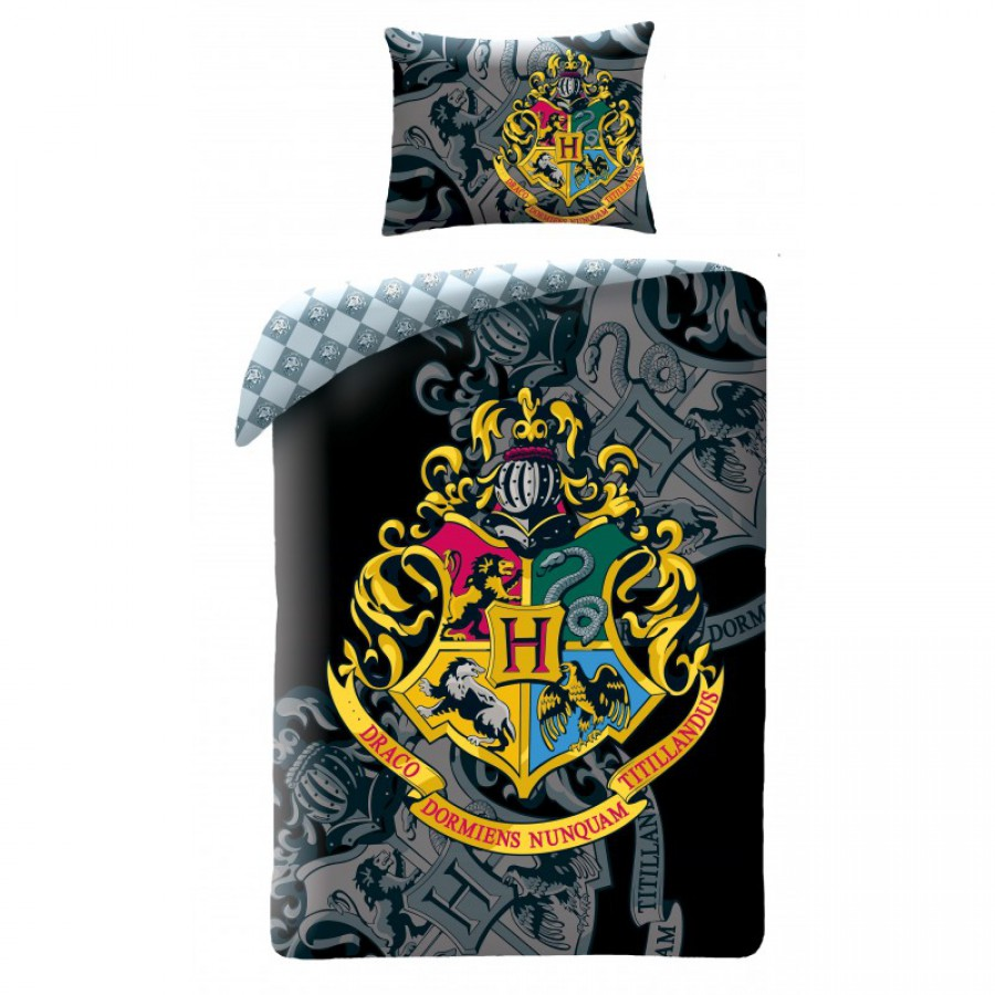 harry potter hogwart school coat bed set duvet cover 140x200cm cotton original official. Black Bedroom Furniture Sets. Home Design Ideas