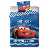 Set Letto BABY Disney CARS SAETTA Finish Line COPRIPIUMINO 100x135 100% Cotone