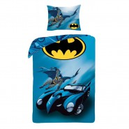 BED SET Duvet Cover BATMAN with BATMOBILE 140x200cm and Pillow Cover ORIGINAL Dc Comics