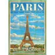 PUZZLE 500 Pezzi PARIS Parigi TORRE EIFFEL Effetto LEGNO Clementoni 37036