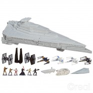 STAR DESTROYER First Order STAR WARS Playset MICROMACHINES Star Wars Playset con 12 FIGURE e Modellini Hasbro B4080