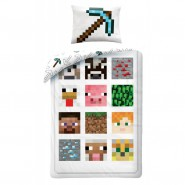 MINECRAFT Single Bed Set PIXEL Squared Characters DUVET COVER 140x200cm Cotton ORIGINAL Official