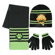 CHAT NOIR from MIRACULOUS LADYBUG Winter Set 3 PIECES - SCARF Beanie HAT GLOVES Original