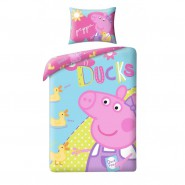 BED SET Duvet Cover PEPPA PIG Peppa DUCKS 140x200 COTTON Single Bed OFFICIAL