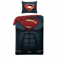Set Letto Cotone SUPERMAN Logo ADDOMINALI Petto COPRIPIUMINO e FEDERA 140x200cm Originale